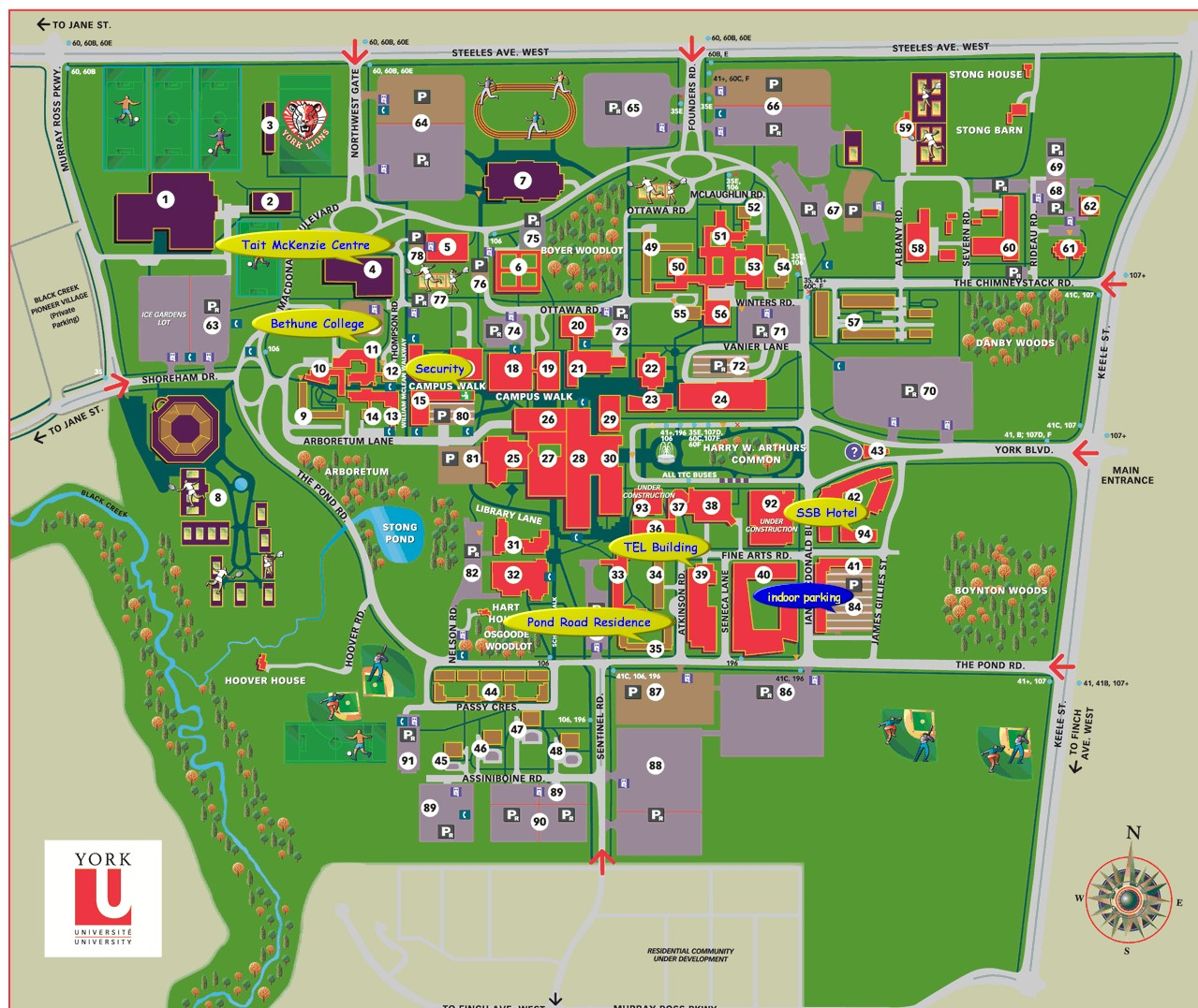 map of york university campus York University Keele Campus Map map of york university campus